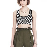 CHECKERBOARD BRA TOP WITH BALL CHAIN TRIM | TOP | Alexander Wang Official Site