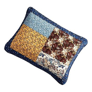 Tache Cotton Patchwork White Blue Yellow Brown Floral Prairie Sunset Pillow Sham (JHW-887)