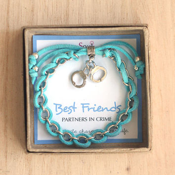 Best Friends Partners in Crime, Aqua blue cord and Silver Handcuffs Charm Friendship Bracelet, bridesmaid gift, bff gift