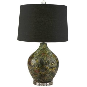 Black Mosiac Lamp with Crystal Base and Finial