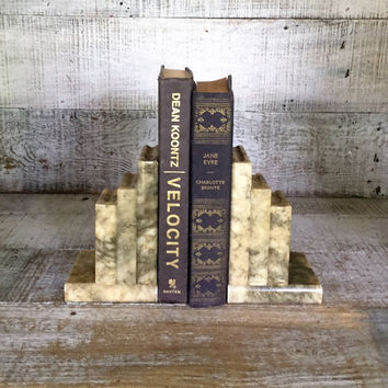 Bookends Marble Bookends Hollywood Regency Book Bookends Mid Century Marble Door Stoppers Home Office Decor Book Lover Gift Boho Decor