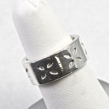Estate Sterling Silver Leaf Ring Handmade 925 Jewelry Size 6.75
