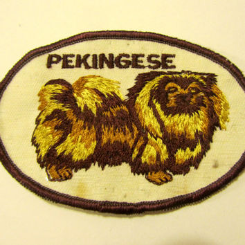 Cute Vintage 70's Pekingese Toy Dog Patch