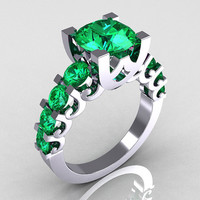 Modern Vintage 14K White Gold 20 Carat Emerald by artmasters