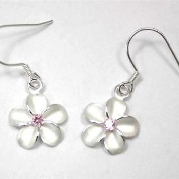 SILVER 925 HAWAIIAN PLUMERIA EARRINGS ON WIRE HOOK PINK CZ 15MM