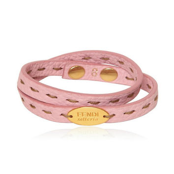 Fendi 7AJ029 Selleria Double Stranded Women's Pink Leather Bracelet