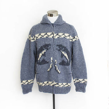 Vintage Cowichan Sweater -  FISH Novelty Grey Knit WOOL Zip Cardigan 1960s 70s - Large