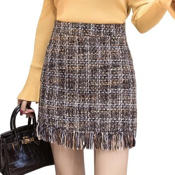 Vintage Tweed Skirt 2017 Autumn Winter Fashion Woolen Tassel Skirts Womens High Waist Sexy Mini Pencil Skirt Slim Plaid Saias