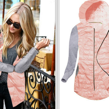 Pink Color Block Hooded Zippered Coat