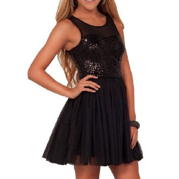 Juniors A Line Formal Sequin Mesh Scoop Neck Sleeveless Tulle Tutu Party Dress