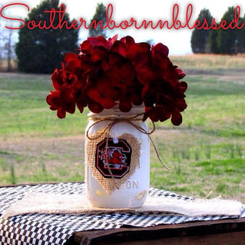 Gamecocks, mason jar, painted mason jar, rustic, decorated mason jar, school spirit, centerpieces, college, graduation party, USC, gifts