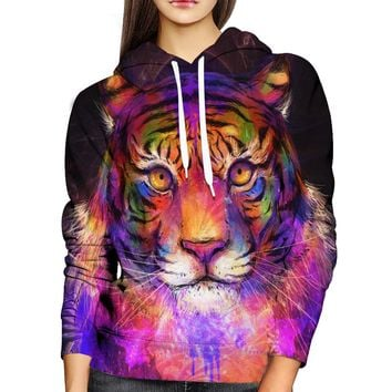 Psychedelic Tiger Womens Hoodie