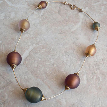 Bead Station Necklace Large Frosted Glass Green Brown Vintage