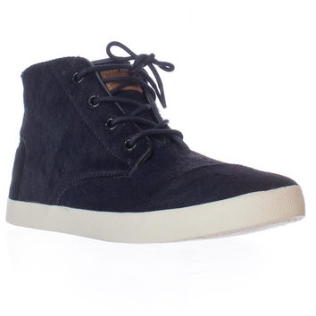 TOMS Paseo High Lace-Up Perforated Fashion Sneakers - Navy Pony