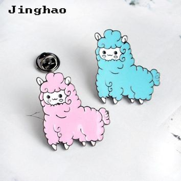 Trendy Cute Grass Mud Horse Sheep Brooches Pin Cartoon Animal Enamel Pins Badges Girls Women Denim Jacket Clothing Laple Pins Brooch AT_94_13