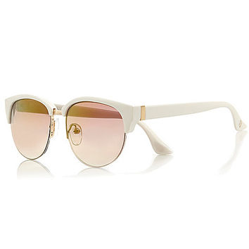 River Island Girls white mirror lens retro sunglasses