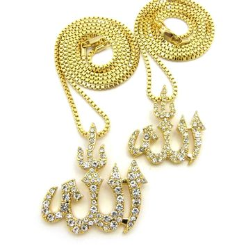 Gold Allah Islam Muslim Arab Arabic Pendant Charm Chain Necklace Jewelry Set