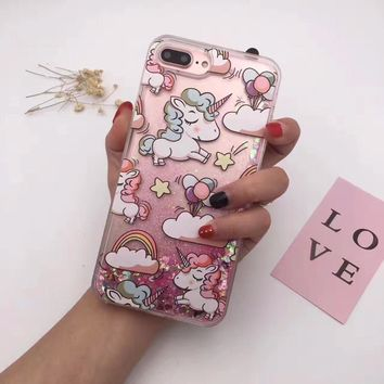 Silicon For iPhone 6 case 6S Glitter Dynamic Flamingo Unicorn 3D kawaii Print Quicksand Gift Phone Case for iPhone 7 Case 7plus