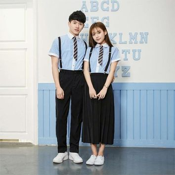 2018 summer korean short sleeves school uniform suit girls performers student costume women's japanese school uniform