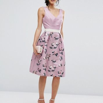 Chi Chi London 2 in 1 Floral Midi Dress With Low Back at asos.com