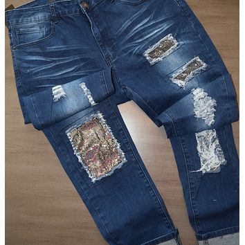 Silver Sequin Patch Jeans Curvy Girl