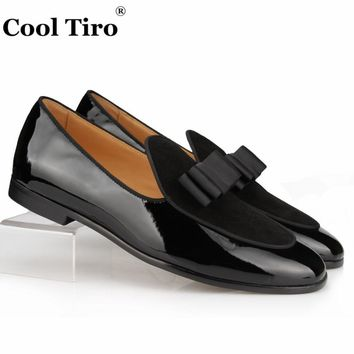 Genuine Leather and Suede Classic loafers Silk Bow Men Slippers Man Moccasins