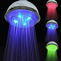 Temperature Sensor Shower Head 3 Color Changing LED Light Rainfall  Water Flow Power