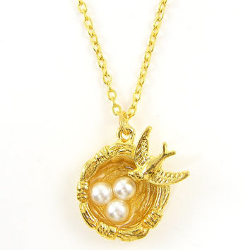 Birds Nest Necklace - Gold White Pearl Pendant with 18 Inch Gold Chain Jewelry