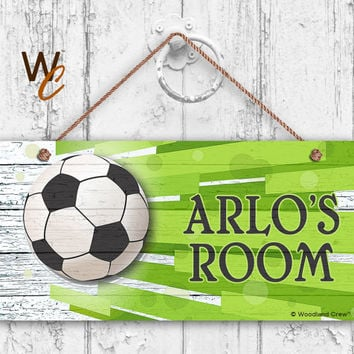"Soccer Sign, Sports Boys Room Sign, Personalized Sign, Kid's Name, Kids Door Sign, Baby Nursery Art, 5"" x 10"" Sign, Made To Order"