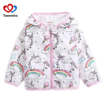 2018 Spring Kids Unicorn Jackets for Girls Coats Rainbow Baby Girl Jacket Cartoon Hoody Children Windbreaker Autumn Clothing 1-5