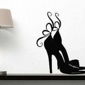 Wall Sticker Vinyl Decal Beautiful Female High Heel Shoes Bow Unique Gift (n152)