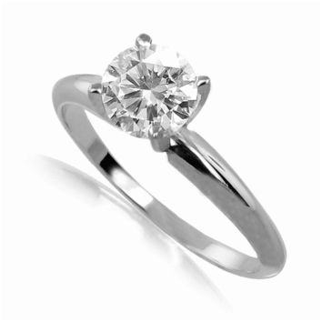 1.5 ct Round Diamond Solitaire Engagement Ring in 14k White Gold