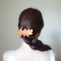 The leaf fairy- pink rosewood  barrette