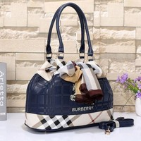Burberry Fashion Women Letter Print Leather Shoulder Bag Tote Handbag Satchel Blue I