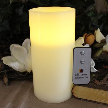 Pillar Candle with Pale Yellow Flame, One Large Flameless Wax and Remote
