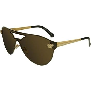 VONEXO9 Versace Women's Mirrored VE2161-1002F9-42 Brown Tpu Shield Sunglasses
