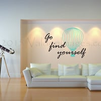 Travel quote wall decal, motivational wall decal, boho wall decal, dorm room wall decor, teen room wall decor, bohemian wall decal, wall art