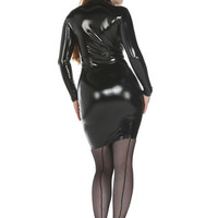 Latex Look Long Sleeve PVC Dress