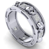 Skull Wedding Band in Solid 925 Silver