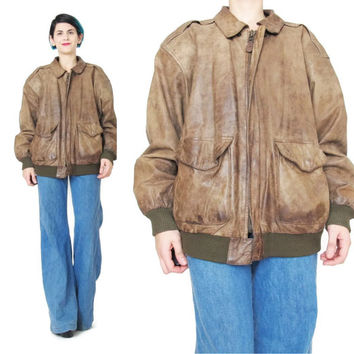Vintage 80s Mens Leather Bomber Jacket Brown Leather Jacket Weathered Beat Up Buttery Soft Leather Slouchy Aviator Pilots Jacket (M/L)