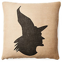 One Kings Lane - Add Spellbinding Style - Witch 20x20 Burlap Pillow, Tan