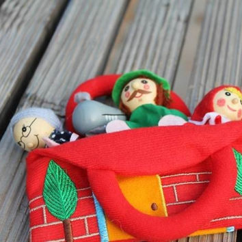 Hot selling 4pcs/lot little red riding hood baby story telling finger puppets with cloth bag/ kids child plush doll toys 10cm