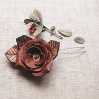 odd botany / eye leather hair pin - leather rose hair pin - creepy cute accessories - steampunk hair accessories - unusual  & witchy