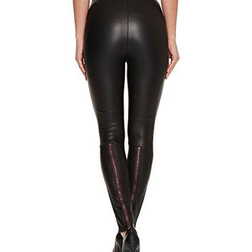 Plush Fleece-Lined Liquid Leggings with Contrast Zipper