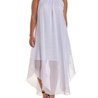 Plus Size White Gold Choker Halter Maxi Dress by Charlotte Russe