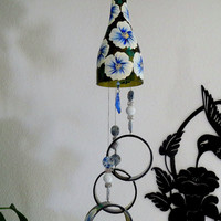 Wine bottle windchime, Dark Amber wind chime, White and Blue flowers, yard art, patio decor, recycled bottle wind chime, hand painted chime