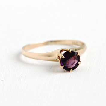 Antique 10K Yellow Rosy Gold Garnet Doublet Ring- Vintage Size 6 Early 1900s Art Deco Solitaire Fine Purple Gemstone Jewelry