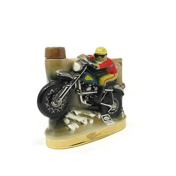 Vintage Ezra Brooks Motorcycle Decanter No 185 Heritage China Hand Decorated with Pure Platinum from 1972 Maryland Tax Stamp