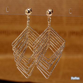 1 Pair New fashion Women Elegant Retro Multilayer Leaf Tassel Drop Dangle Earrings Jewelry = 1958460612