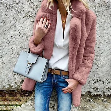 Candy Color Lapel Collar Women Faux Fur Oversized Teddy Coat